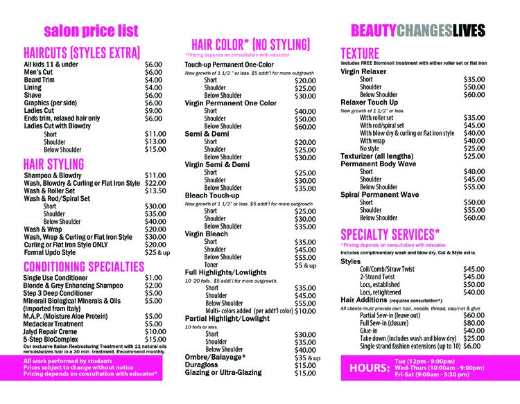 Salon prices 2020-a